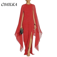 OMILKA 2017 Autumn Women Batwing Sleeve Split Chiffon Long Maxi Dress Sexy Black Red Blue Purple