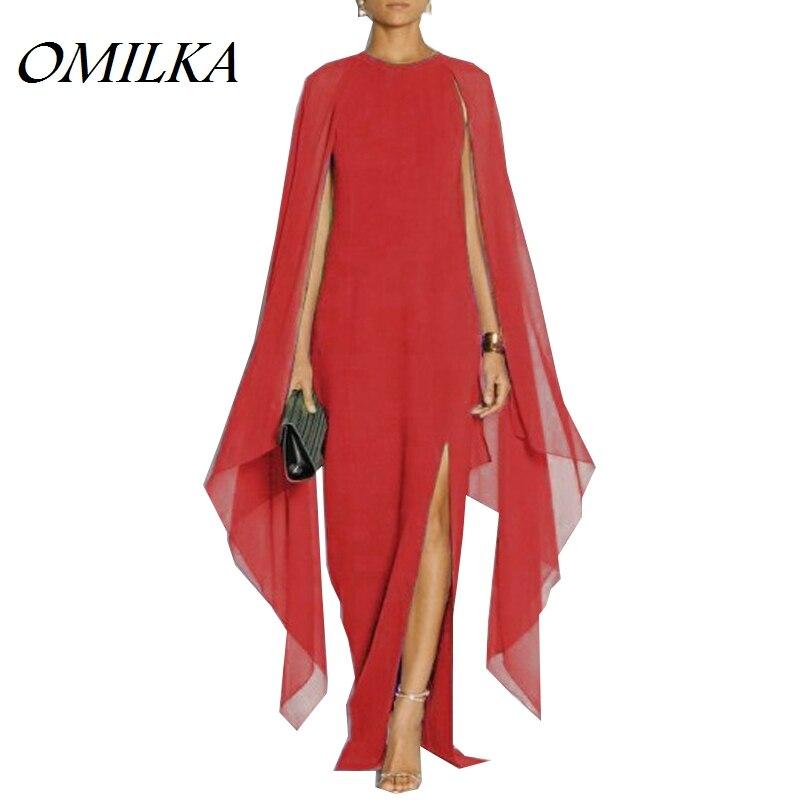 Omilka 2019 outono feminino batwing manga dividir chiffon longo maxi vestido sexy preto vermelho azul roxo pista cabo vestidos femininos