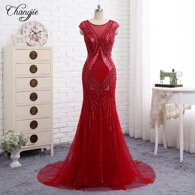 b57c045e7ee Sexy New Mermaid Prom Dresses 2018 O-Neck Sleeveless Beads Sequins Chiffon Floor  Length Long Evening Dresses Formal Gowns