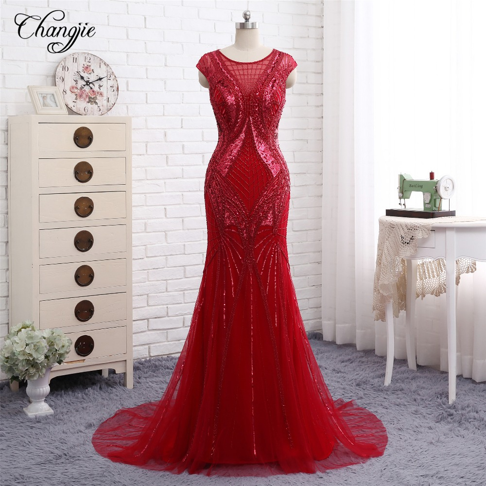 Sexy New Mermaid   Prom     Dresses   2018 O-Neck Sleeveless Beads Sequins Chiffon Floor Length Long Evening   Dresses   Formal Gowns