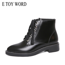 E TOY WORD Women Ankle Boots Pointed Toe Lace Up Genuine Leather Shoes Winter Boots Shoes Woman Autumn Winter Fashion boots christia bella fashion genuine leather men boots pointed toe lace up ankle boots for men wedding dress shoes winter cowboy boots