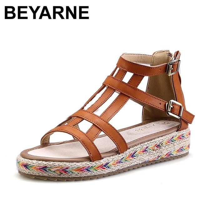 9236215a7de412 BEYARNE Plus Size35-43 2018 Bandage Gladiator Sandals Summer Flat Sandals  Boots Fretwork Summer Women Shoes