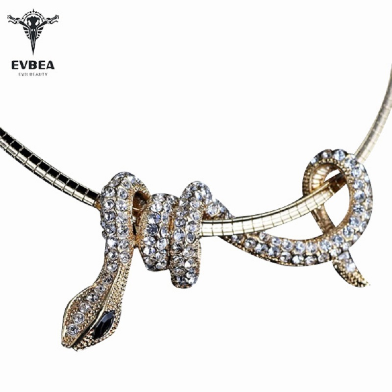 EVBEA Choker Necklace Snake Pendant For Women Rhinestone Crystal Necklaces White Gold Black Statement Jewelry free chain in Choker Necklaces from Jewelry Accessories