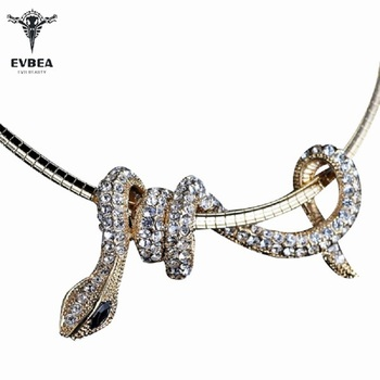 EVBEA Choker Necklace Snake Pendant For Women Rhinestone Crystal Necklaces White Gold Black Statement Jewelry(free chain)