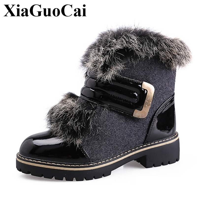Winter Fashion Casual Shoes Women Boots Warm Fur Snow Boots Hook&loop Antiskid Cotton Shoes Flat Ankle Boots Leather H546 35