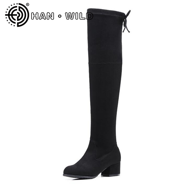 Women Boots Shoes High Quality Over The Knee Sexy Boots Square Toe Ladies Knee High Boots Autumn Winter Warm Long Boots S