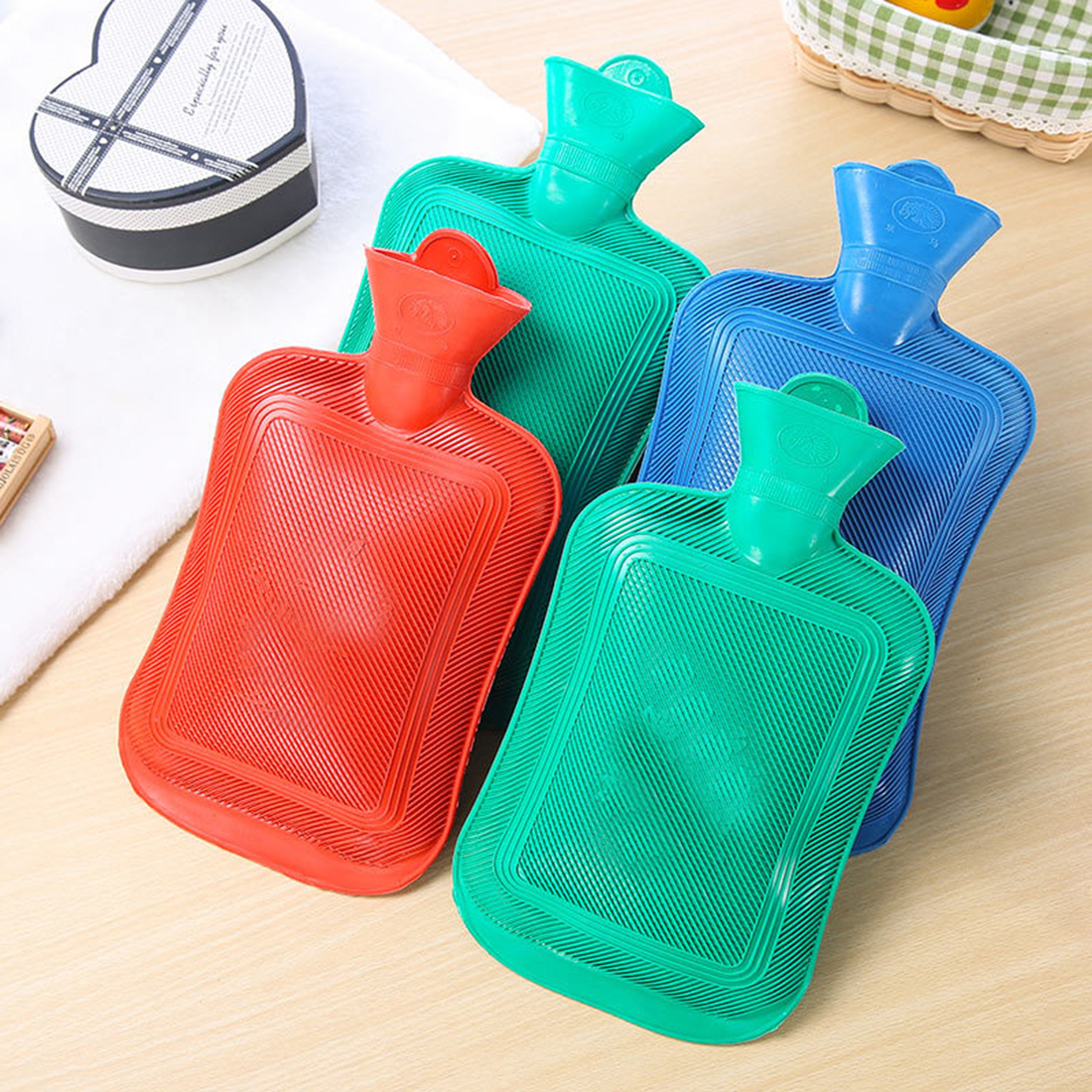Hot Water Bottle Thick High Density Rubber Hot Water Bag Hand Warming Water Bottles Winter Hot Water Bags Bottle random color ...