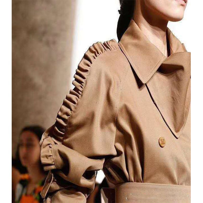 Cosmicchic 2019 Autumn Winter Women Runway Long Coat Wood Ear Sleeve Double-breasted   Trench   Coat With Belt Outerwear Slim