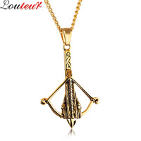 Louleur 2017 New Gold Black Stainless Steel Bow And Arrow Necklace Vintage Punk Pendant Choker Necklace