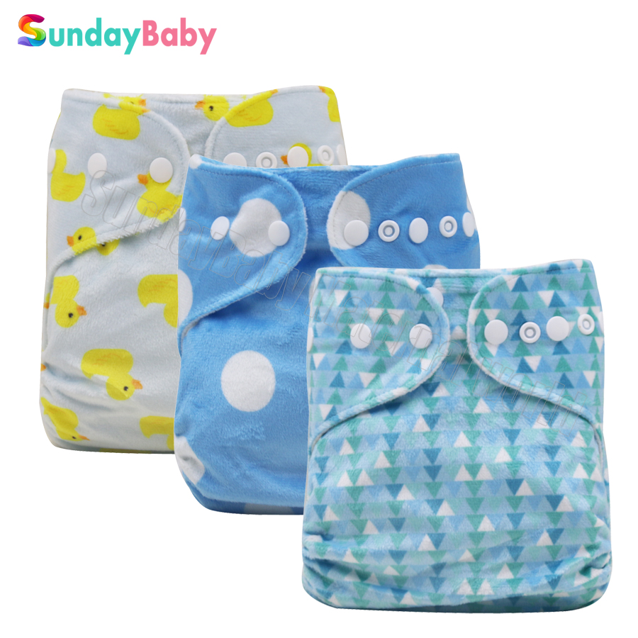 1pc cloth diaper with 2 pcs bamboo inserts cloth nappies minky printed pattern reusable baby cloth