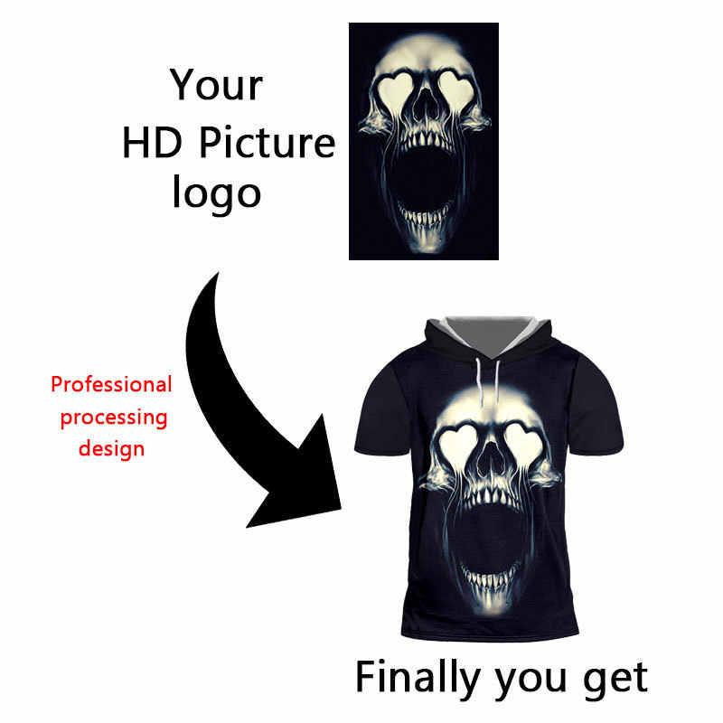 OGKB 3D принт DIY на заказ ваш собственный дизайн мужская футболка с капюшоном летние топы Повседневная футболка худи с коротким рукавом оптовый поставщик