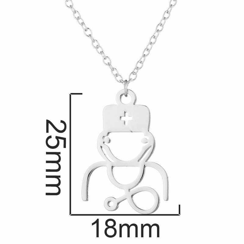 Yiustar Новое поступление модное ожерелье в виде стетоскопа для женщин 2019 нержавеющая сталь медицинская сестра доктор чокер ювелирные изделия для лучшего друга ожерелье