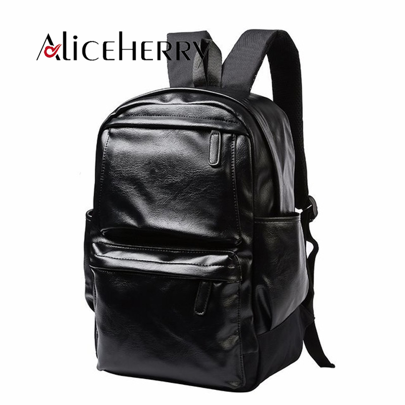 Mens Backpack Pu Leather Vintage Backpacks Male School Bags For Teens Laptop Backpack Man Black Travel Backpack 2017 Fashion Fancy Colours Men's Bags Luggage & Bags