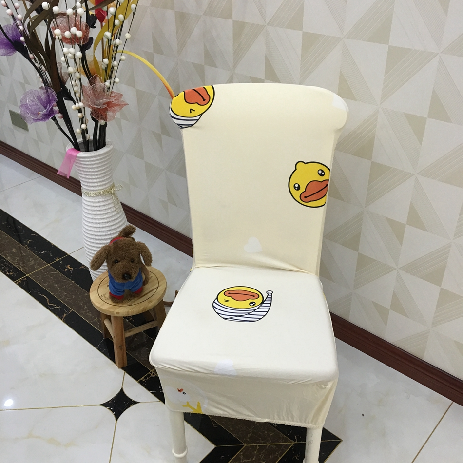 Modern Home Decoration <font><b>Chair</b></font> <font><b>Cover</b></font> Lovely and Cute Cartoon Duck Printed Spandex Stretch Dining <font><b>Chair</b></font> <font><b>Cover</b></font>
