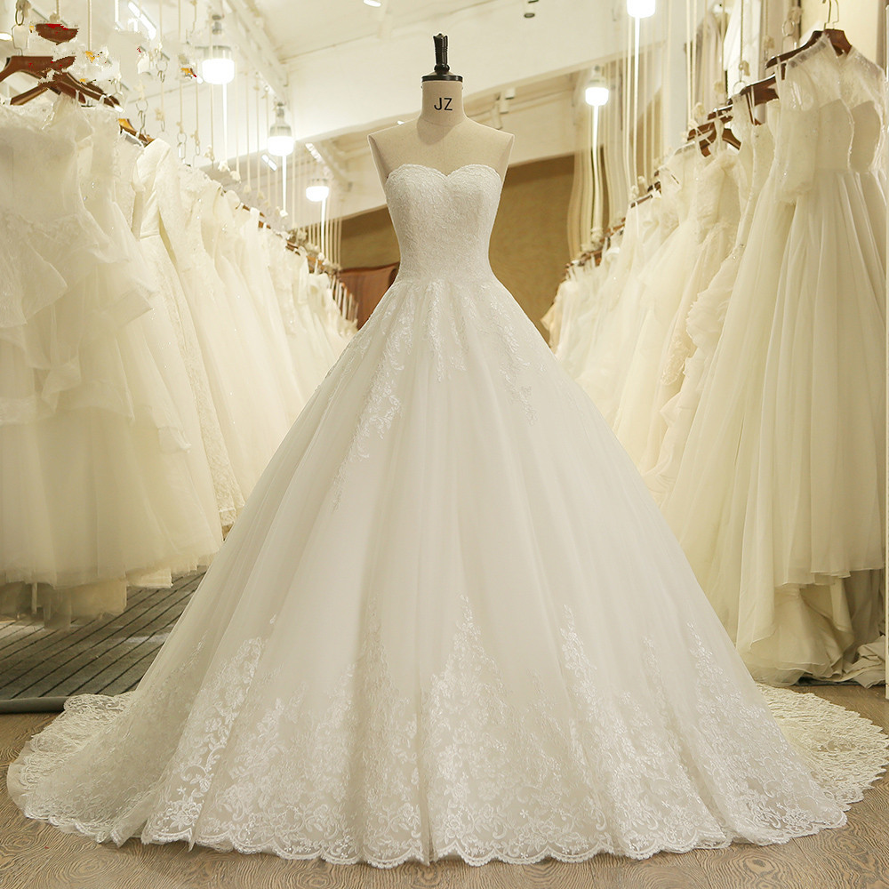 Gorgeous Lace Applique Ball Gown Wedding Dress Vestido De Novia Princess Vintage Wedding Dresses Real Image Bridal Gown 2019
