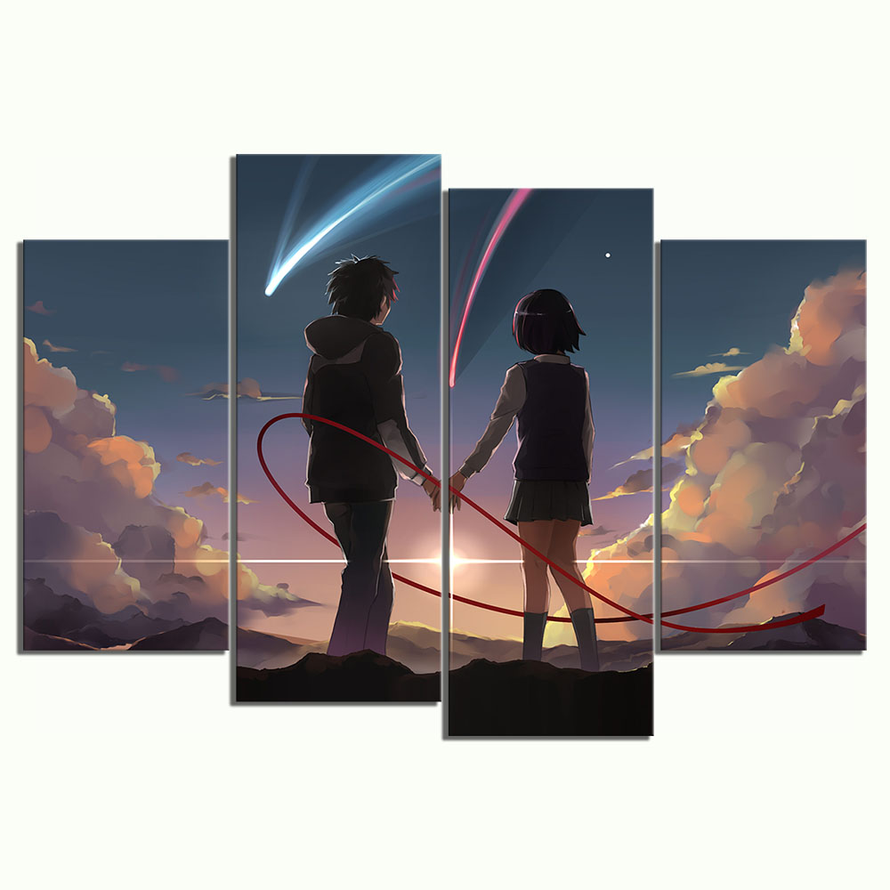 4 Panels Anime Couple Pictures YOUR NAME Cartoon Movie Poster HD Wall Pictures for Home Decor 3