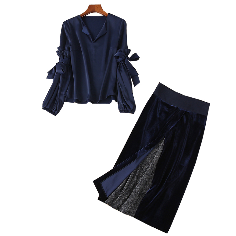 2019 Spring Runway Design 2 Pcs Set Stylish Velvet Satin V-Neck Long Lantern Sleeve Blouse Tops + Velvet Skirts Woman's Suits