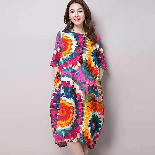 51b230e8ce367 New Stylish Nice Fashion National Style Vintage Print Loose Casual Long  Dress Plus Size Women Cotton Linen Summer Dresses