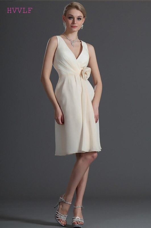 2019 Cheap   Bridesmaid     Dresses   Under 50 A-line V-neck Chiffon Flowers Knee Length Backless Wedding Party   Dresses