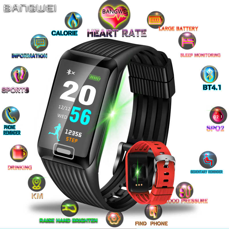BANGWEI 2019 Smart Watch  Men Women Fitness Tracker Heart Rate Blood Pressure Monitor Smart Sports Running Watch for ios android