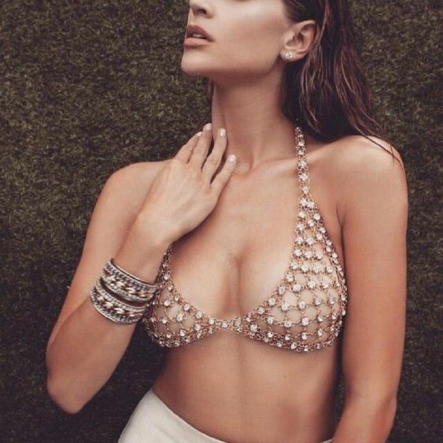 Boho Gypsy Mesh Piercing Sexy Hollow Body Chain Crystal Bikini Bra Harness V Statement Necklace Women Waist Belly Body Jewelry