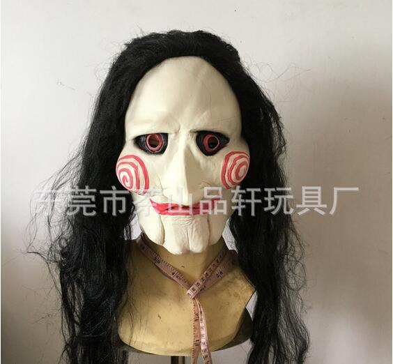 halloween latex saw billy jig saw tobin bell jigsaw head mask with hair mask party cosplay