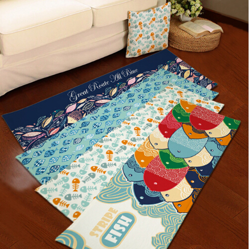 Colorful Fish Flannel Carpet Bathroom Water Absorption Non
