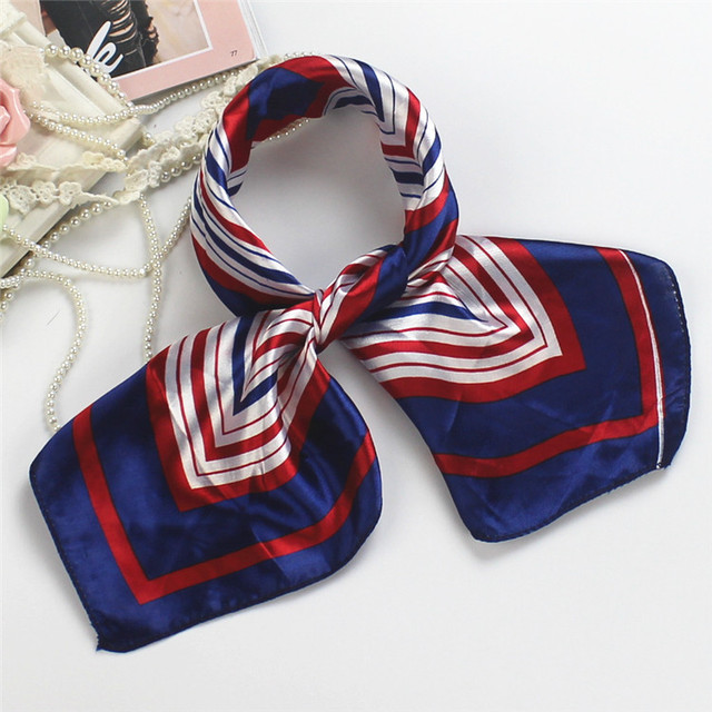 50x50cm Women Girls Korean Style Scarves Hotel Waiter Flight Attendants Business Printing Square Imitate Silk Scarf Wholesale