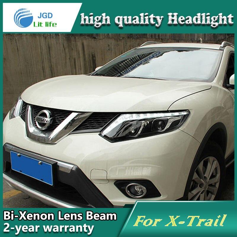 Глава стайлинга автомобилей чехол лампы для Ниссан х-Трейл 2014 фары светодиодные фары DRL объектива с двойным Луч Би-Ксеноновые автомобильные аксессуары
