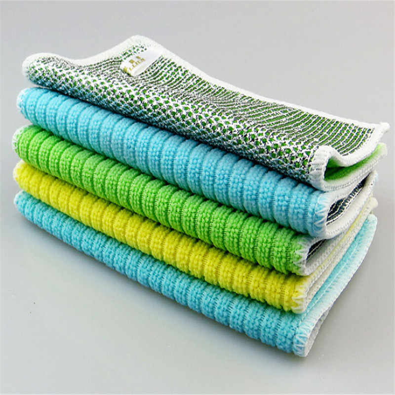 Super Absorbent Towels Anti-grease Bamboo Fiber Dish Cloth Household Glass Window Cleaning Cloth Kitchen Absorbent Dishcloth