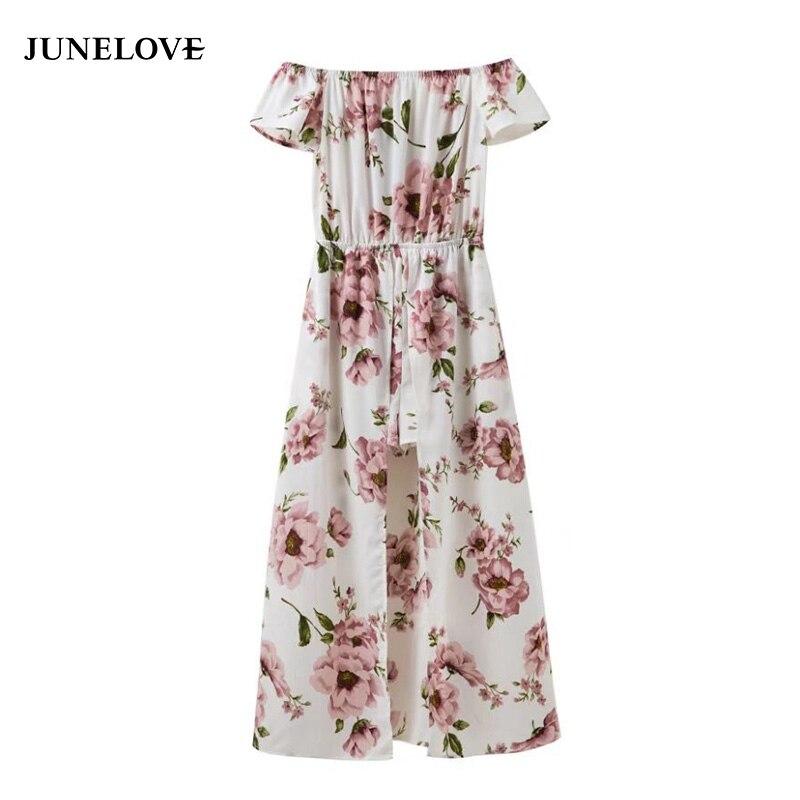 JuneLove summer embroidery off-shoulder women jumpsuit waist floral print female rompers split-knit ladies playsuits