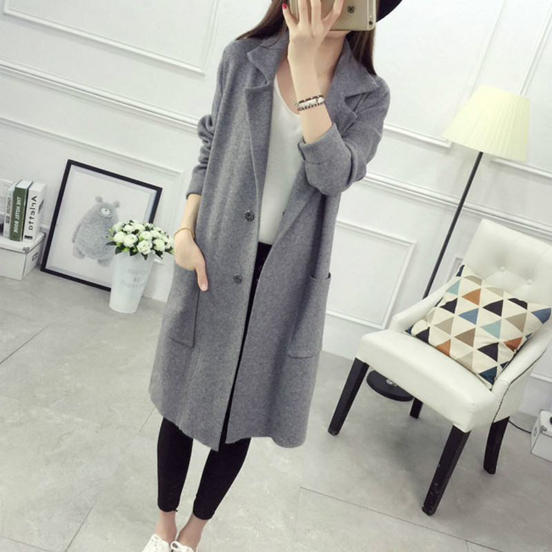 5a6d1cf3dfb 2017 new Winter Long Sweater Coat for Women Turn Down Formal Long Cardigans  Christmas Sweaters Oversized Coat Knitted camisola-in Cardigans from Women s  ...