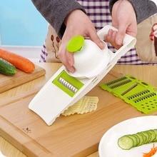 Küche Mandolinenschneider Gemüse Cutter mit 5 Edelstahl Klinge Karottenreibe Zwiebelschneider Küche Zubehör