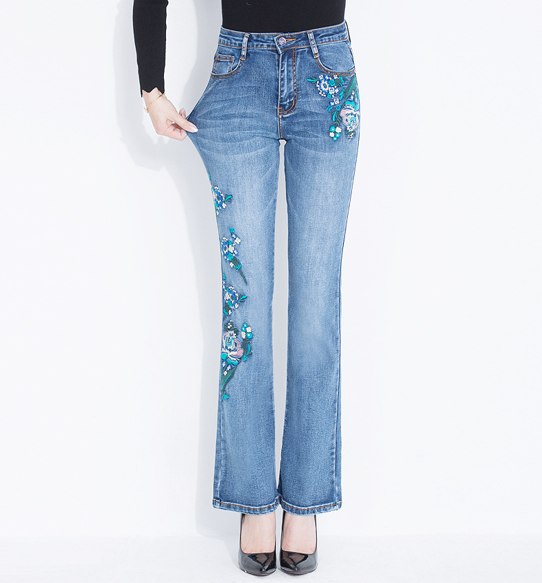 KSTUN FERZIGE 2020 Women Jeans Fashion Flares Denim Pants Embroidery Floral Light Blue High Waist Stretch Sexy Ladies Large Size Mujer 16