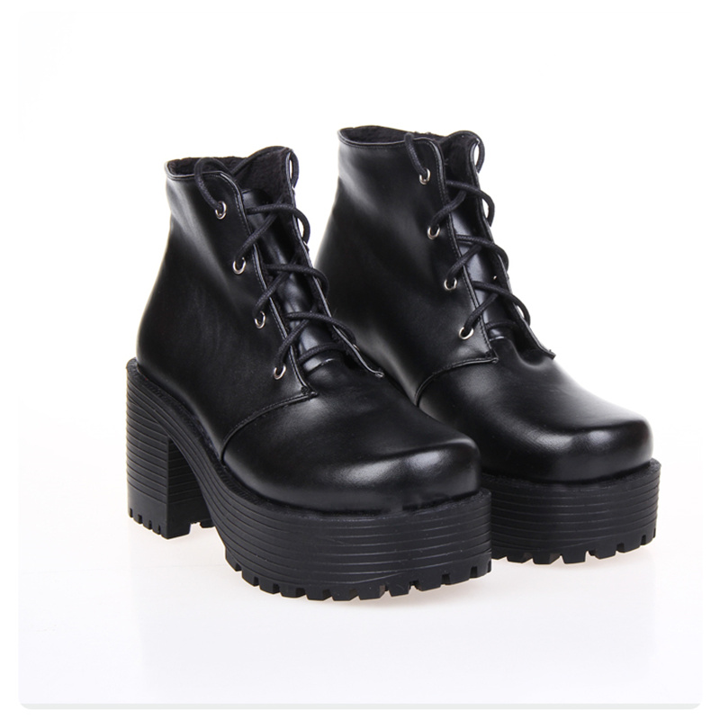 541ddb8722b Japanese Harajuku Punk Cosplay Thick Heel Platform Shoes White Leather Lace  up Queen Shoes-in Ankle Boots from Shoes on Aliexpress.com