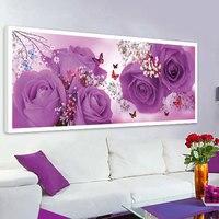 엘리트 DIY 다이아몬드 그림 꽃 세 꽃 보라색 장미 버전 꽃