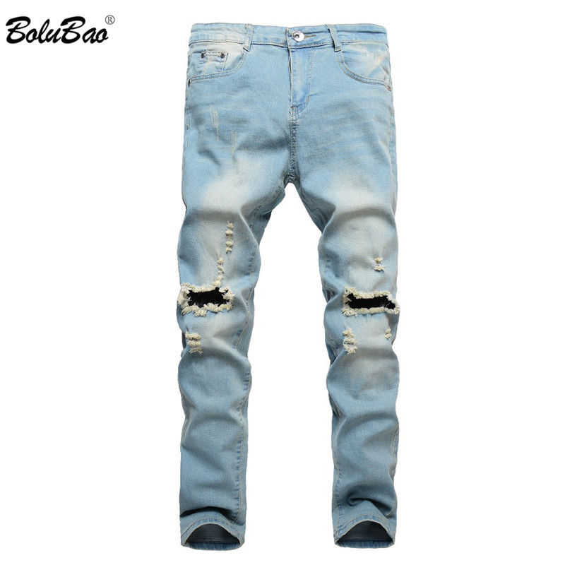 BOLUBAO 2018 Ripped <font><b>Jeans</b></font> for Men Patchwork Hollow Out Printed Beggar Cropped Pants Yong Man Cowboys Japan Style Trendy Hombre
