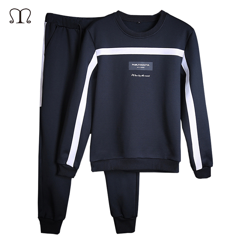 Men Sportswear Sets O-neck Tracksuit Sweatshirt With Joggers Pants Letter Casual 2 Pieces Sets Men Patchwork Spring Hoodie #2