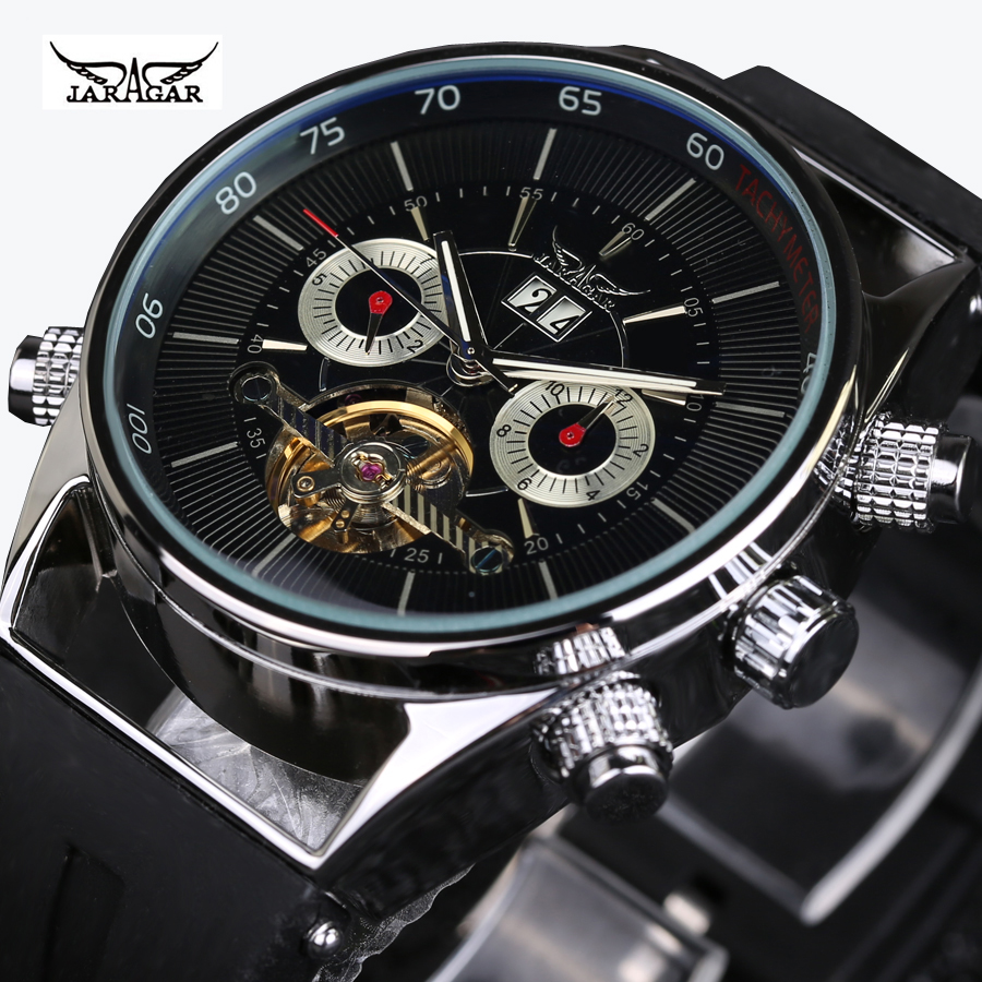 Classic Tourbillon Wrap Mens Watches Top Brand Luxury Automatic Watch Silver Case Calendar Male Clock Black Mechanical Watch mce sports mens watches top brand luxury genuine leather automatic mechanical men watch classic male clocks high quality watch