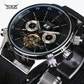 Turbilhão clássico Envoltório Mens Relógios Top Marca de Luxo Relógio Automático de Prata Caso Calendário Relógio Masculino Relógio Mecânico Preto
