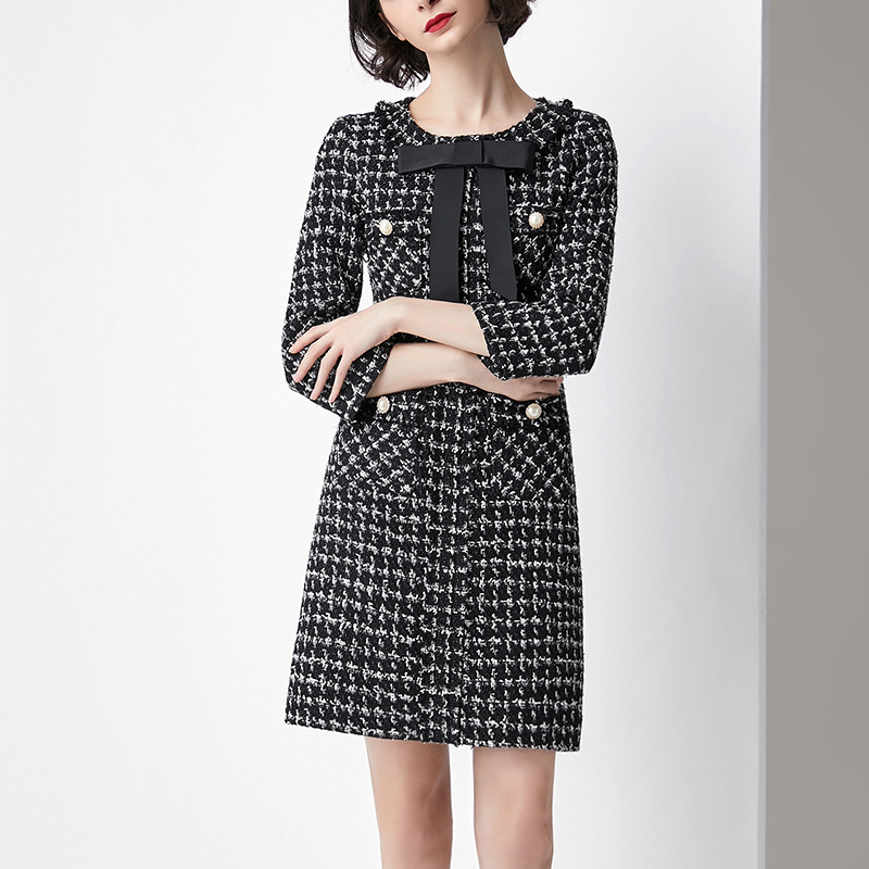Femmes Tweed Bowknot Plaid Designer Hiver À Pour De Mode Manches Longues Automne Laine Marque Qualité Supérieure Piste 2019 Robe Rj5AL43
