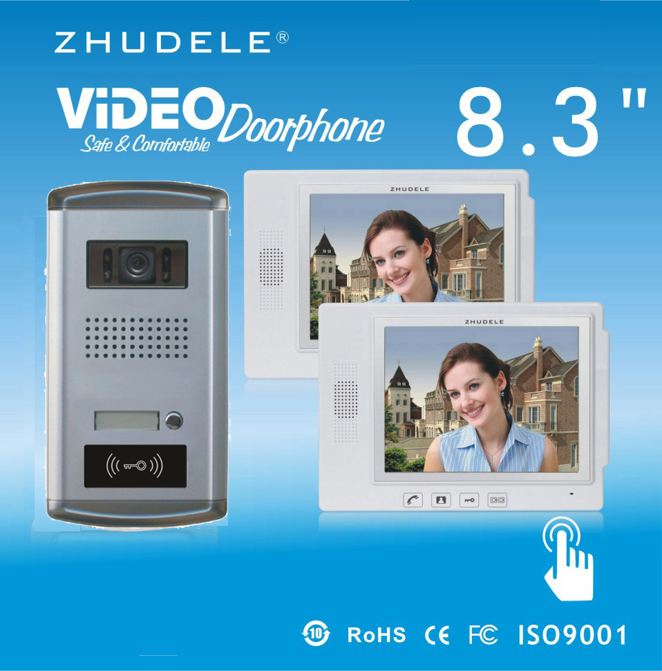 ZHUDELE Hot Selling 8.3Video Door Phone Touch Key Doorbell&IR HD Home Security CCD Camera w/t ID Card unlocking 1V2 Intercom