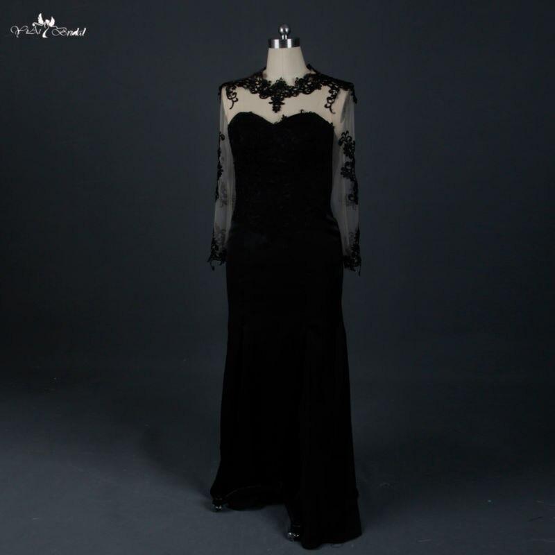 RSE673 Plus Size Long Sleeve Split Side Skirt Black Mermaid Lace   Evening     Dress