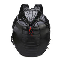 2017 New Fashion Couple Cobra Print Backpack Punk Tide Unisex Personality 3D Animal Type 14 Inch Street Computer Backpack