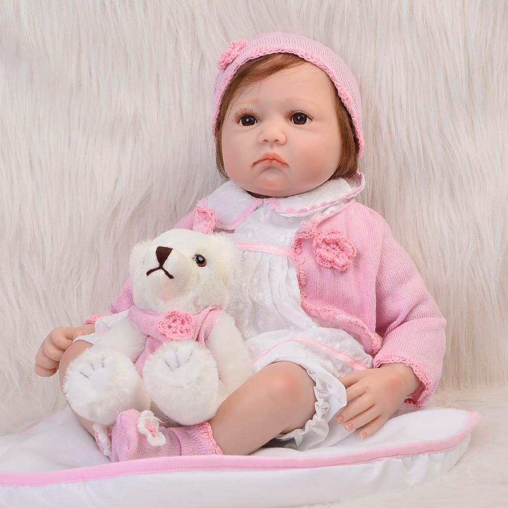22 ручной работы корнями Волокно волос возрождается младенцев Куклы 55 см реалистичные девушка мягкие силиконовые детские Куклы бесплатная ...