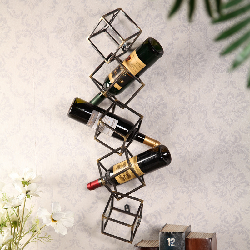 European and American antique style iron cube wine rack Kitchen Bar restaurant wall hangings hanging ornaments creative personal