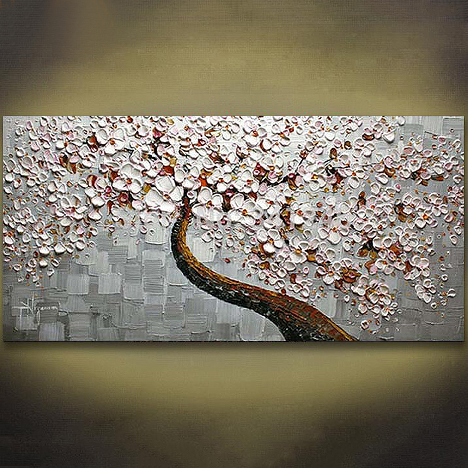 Unframed Modern Abstract Flowers Palette Knife Oil Painting Handpainted Canvas Painting Home Wall Decor For Wedding Decoration in Painting Calligraphy from Home Garden