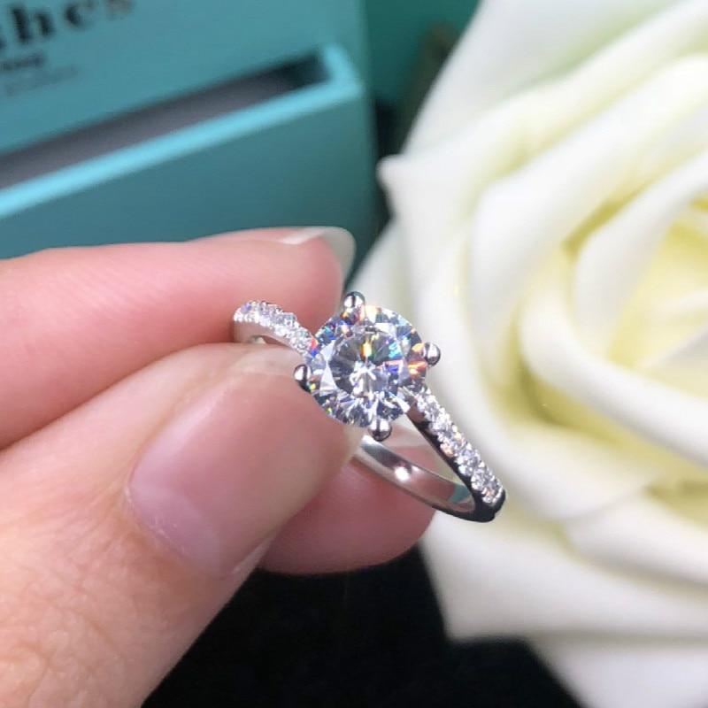 1ct Carat AAAAA haute qualité NSCD pierre anneaux pour les femmes mariage S925 en argent Sterling anneaux de mariage or blanc couleur bijoux