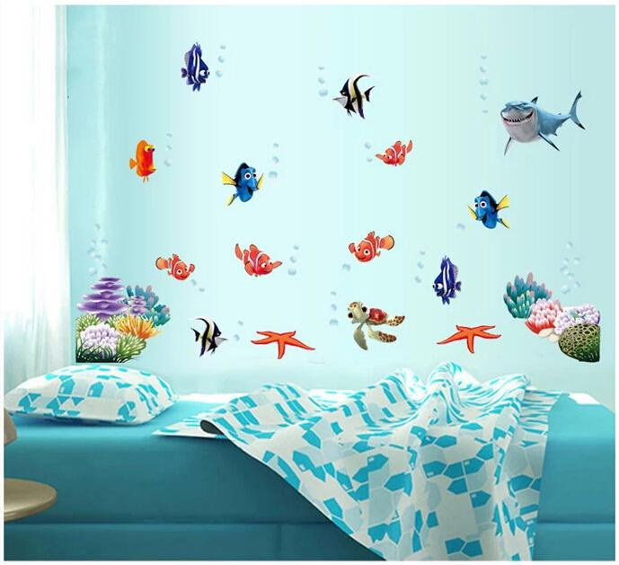 HTB15m1GMpXXXXXGaXXXq6xXFXXXd - Wonderful Sea world colorful fish animals vinyl wall art window bathroom decor decoration wall stickers for nursery kids rooms