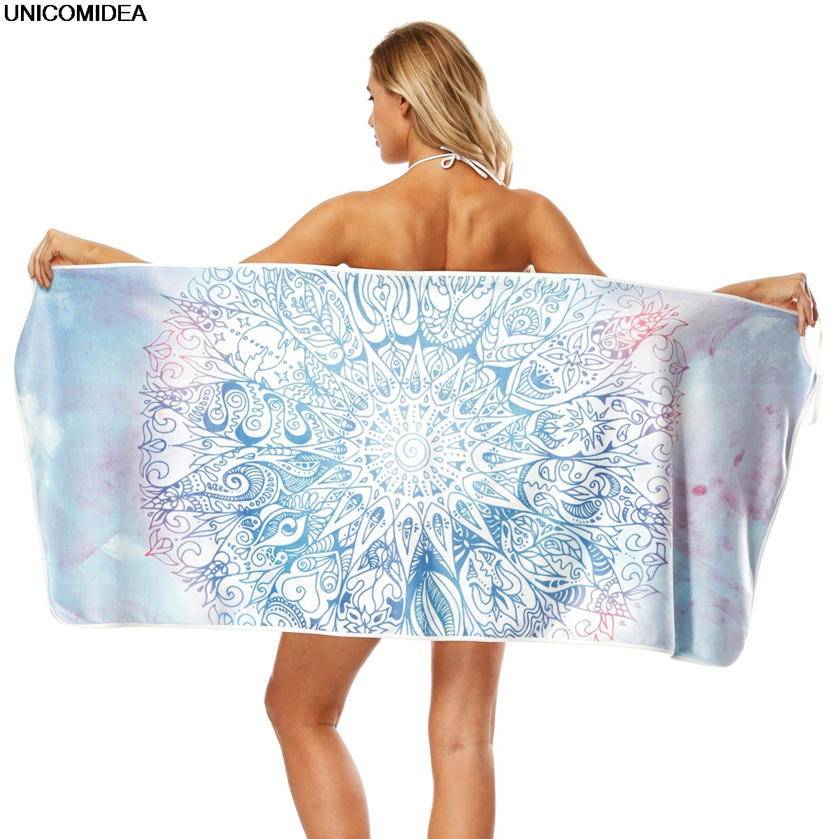 Women Shawls 3D Print Mandala Ombre   Scarf     Wraps   Watermelon Long Multiway Strapless Summer Beach   Scarves   Swimsuit Bathing Suit